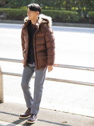 How to wear: brown puffer jacket, black v-neck sweater, navy plaid long sleeve shirt, grey chinos