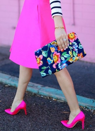 How to wear: navy floral clutch, hot pink satin pumps, hot pink a-line skirt, white and navy horizontal striped cropped sweater