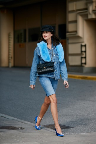How to wear: black quilted leather satchel bag, blue embellished satin pumps, blue denim bike shorts, blue denim jacket