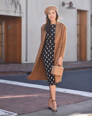 How to wear: tan leather clutch, black leather pumps, black polka dot bodycon dress, camel coat