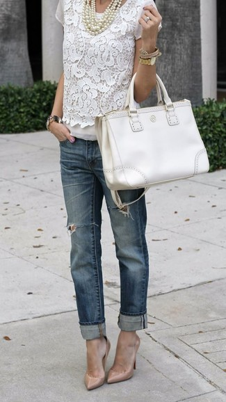 How to wear: white leather tote bag, beige leather pumps, navy ripped boyfriend jeans, white lace short sleeve blouse