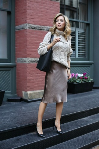How to wear: black leather tote bag, black leather pumps, grey silk cami dress, beige knit turtleneck