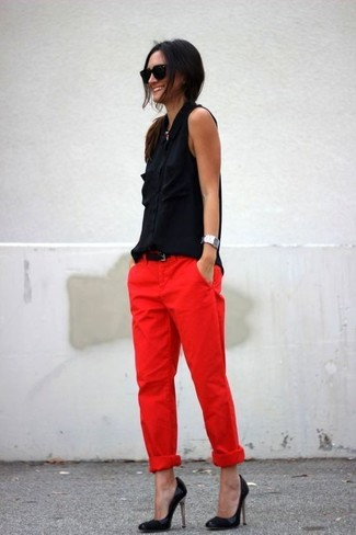How to wear: black leather belt, black leather pumps, red chinos, black silk sleeveless button down shirt