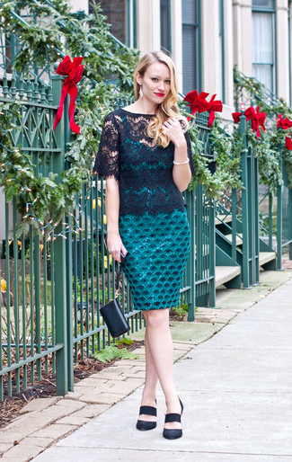How to wear: black leather clutch, black suede pumps, black lace crew-neck t-shirt, teal lace bodycon dress