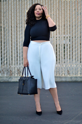 How to wear: black leather tote bag, black suede pumps, white culottes, black cropped sweater