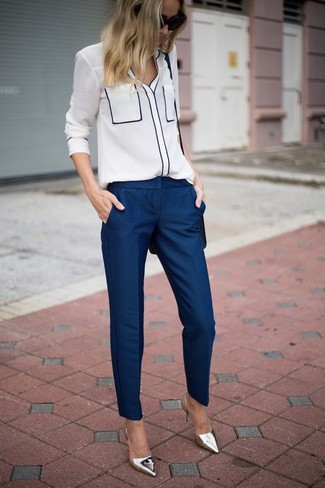 How to wear: black leather crossbody bag, silver leather pumps, navy dress pants, white button down blouse