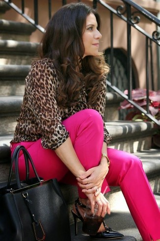 How to wear: black leather tote bag, black leather pumps, hot pink dress pants, brown leopard long sleeve blouse