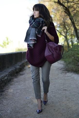 How to wear: purple leather satchel bag, dark purple leather pumps, grey dress pants, dark purple knit oversized sweater