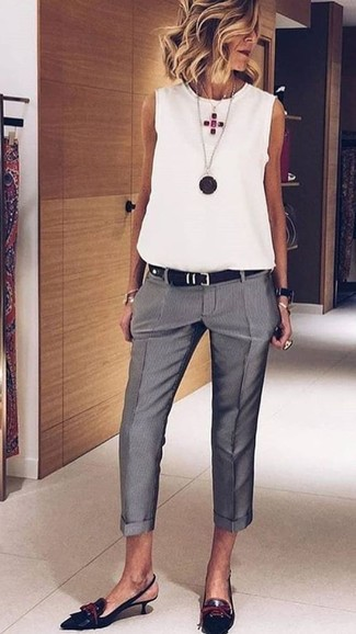 How to wear: black leather belt, black leather pumps, grey dress pants, white sleeveless top