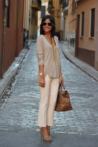 How to wear: brown leather tote bag, beige suede pumps, beige dress pants, beige v-neck sweater
