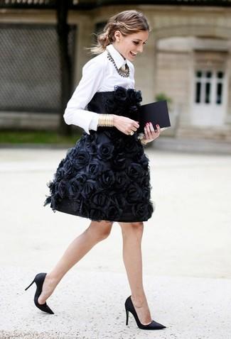 How to wear: gold bracelet, black satin pumps, white dress shirt, black embroidered party dress