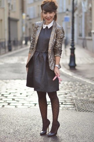 How to wear: silver watch, black leather pumps, black fit and flare dress, gold sequin blazer