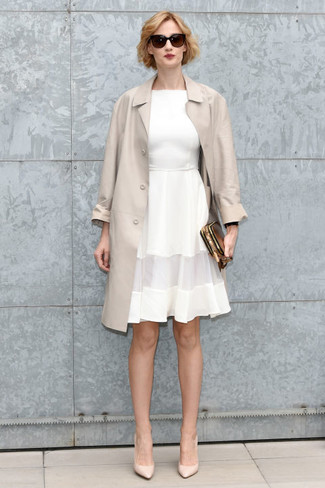 How to wear: gold leather clutch, beige leather pumps, white fit and flare dress, beige trenchcoat