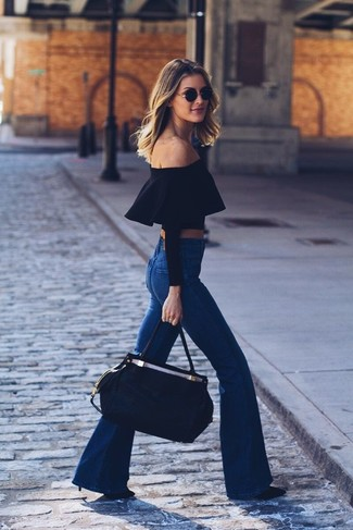 How to wear: black leather tote bag, black leather pumps, blue flare jeans, black off shoulder top