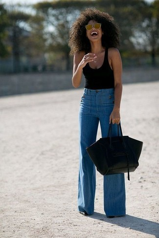 Lace Up Flared Jeans
