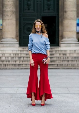 How to wear: white and red and navy clutch, red leather pumps, red flare pants, light blue crew-neck sweater