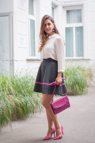 How to wear: purple leather crossbody bag, purple suede pumps, black full skirt, white chiffon button down blouse