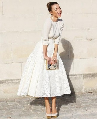 How to wear: beige print leather clutch, beige suede pumps, white lace full skirt, beige crew-neck sweater