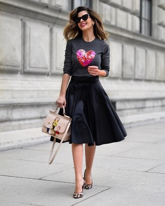 How to wear: beige print leather satchel bag, beige leopard calf hair pumps, black full skirt, charcoal embellished crew-neck sweater