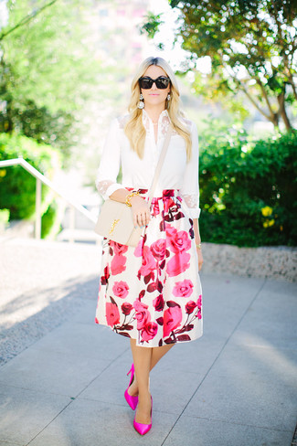 How to wear: beige leather crossbody bag, hot pink leather pumps, white and pink floral full skirt, white lace dress shirt