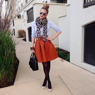 How to wear: black leather satchel bag, grey leather pumps, orange full skirt, light blue dress shirt