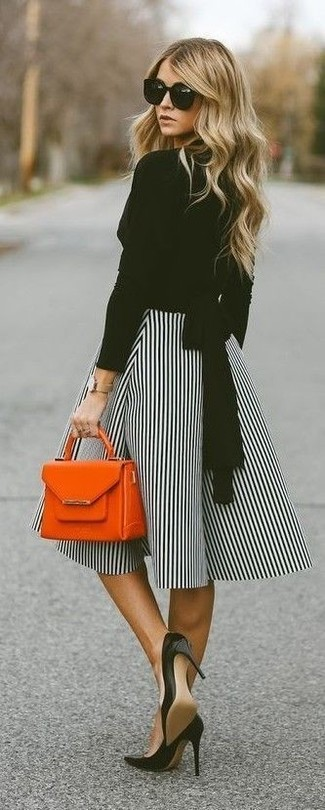 How to wear: orange leather handbag, black leather pumps, white and black vertical striped full skirt, black long sleeve blouse