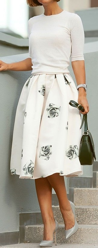 How to wear: olive leather crossbody bag, grey leather pumps, white floral full skirt, white short sleeve sweater