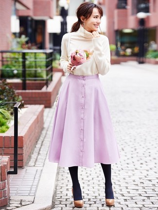 How to wear: white leather crossbody bag, brown chunky leather pumps, pink full skirt, beige turtleneck
