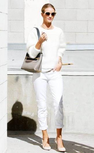 How to wear: grey leather crossbody bag, beige suede pumps, white jeans, white fluffy crew-neck sweater