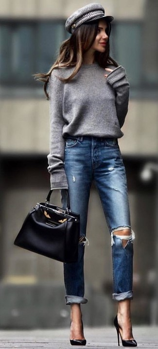 How to wear: black leather tote bag, black leather pumps, navy ripped jeans, grey oversized sweater