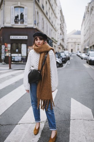 How to wear: black leather crossbody bag, brown suede pumps, blue jeans, white knit oversized sweater