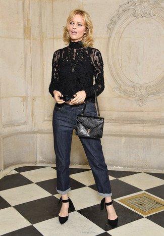 How to wear: black leather crossbody bag, black suede pumps, navy jeans, black lace turtleneck