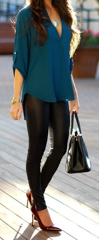 How to wear: black leather tote bag, burgundy leather pumps, black leather leggings, teal long sleeve blouse