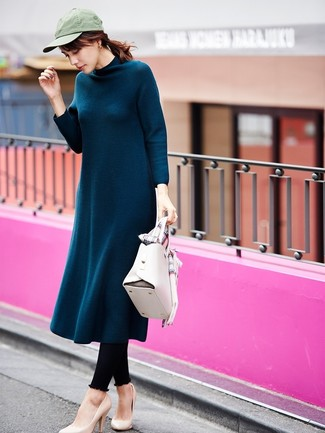 How to wear: white leather satchel bag, beige leather pumps, black leggings, teal wool midi dress