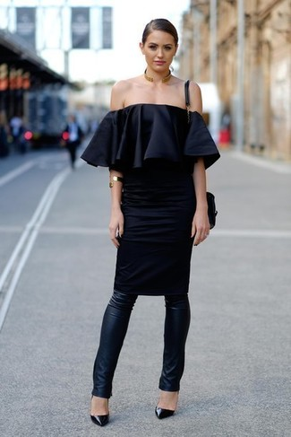 How to wear: black leather crossbody bag, black leather pumps, black leather leggings, black off shoulder dress