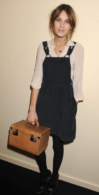 How to wear: tobacco leather handbag, black cutout leather pumps, beige long sleeve blouse, black overall dress