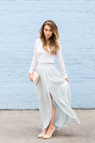 How to wear: beige satin clutch, beige leather pumps, light blue maxi skirt, white long sleeve t-shirt