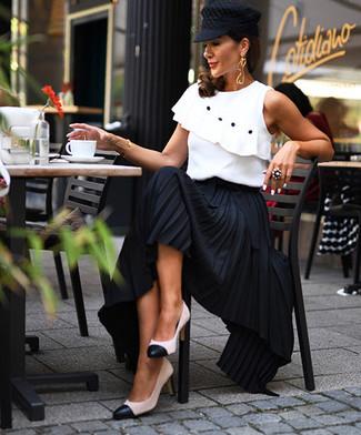 Women's Black Flat Cap, White and Black Leather Pumps, Black Pleated Maxi Skirt, White Ruffle Sleeveless Top