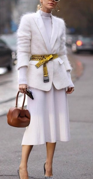 How to wear: brown leather clutch, grey leather pumps, white knit midi dress, white mohair cardigan