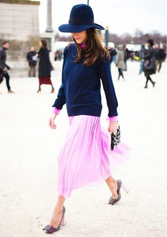 How to wear: black embellished leather clutch, grey leather pumps, pink chiffon midi dress, navy crew-neck sweater