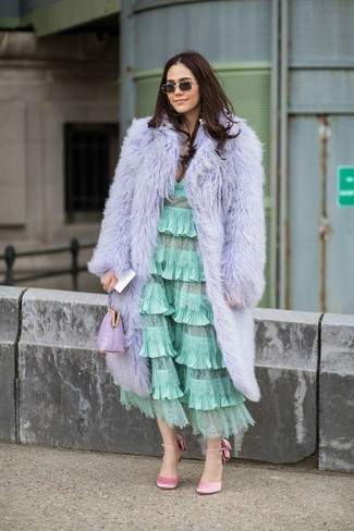 How to wear: light violet leather clutch, pink satin pumps, mint ruffle midi dress, light violet fur coat