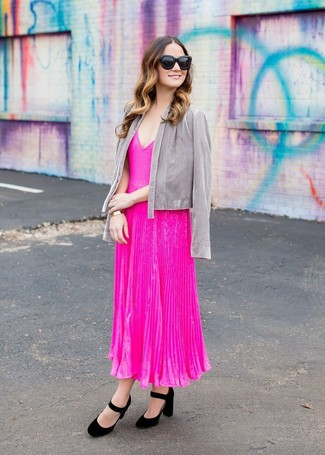 How to wear: black sunglasses, black suede pumps, hot pink pleated midi dress, grey open jacket