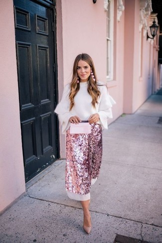 How to wear: pink leather clutch, tan leather pumps, pink sequin midi skirt, white ruffle crew-neck sweater