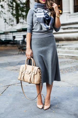How to wear: beige leather satchel bag, beige leather pumps, grey wool midi skirt, grey crew-neck sweater