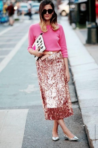 How to wear: white print leather clutch, silver leather pumps, pink sequin midi skirt, hot pink crew-neck sweater