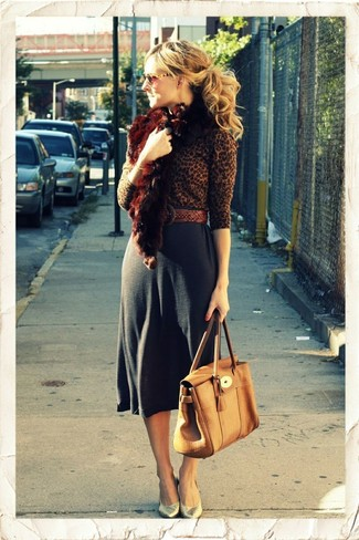 How to wear: tan leather satchel bag, gold leather pumps, charcoal midi skirt, brown leopard crew-neck sweater