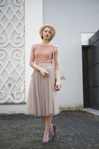 How to wear: beige leather crossbody bag, purple suede pumps, grey pleated chiffon midi skirt, pink embellished crew-neck sweater