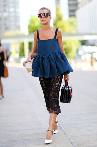 How to wear: black leather handbag, white and black leather pumps, black lace midi skirt, navy peplum top