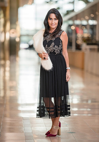 How to wear: white fur scarf, burgundy suede pumps, black pleated chiffon midi skirt, black embellished sleeveless top