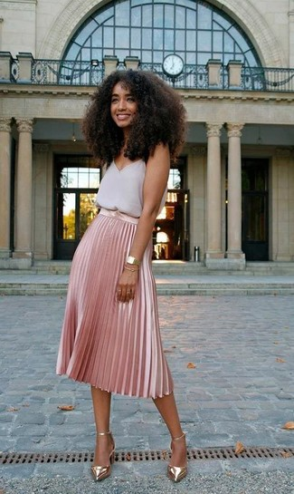 How to wear: gold watch, gold leather pumps, pink pleated midi skirt, grey chiffon tank